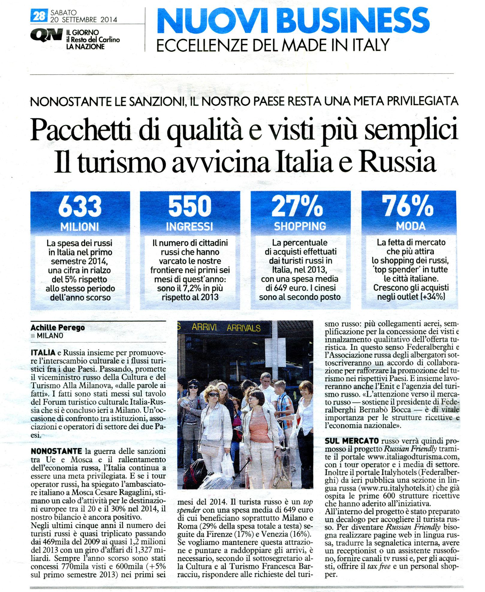 PACCHETTI DI QUALITA E VISTI PIU SEMPLICI. IL TURISMO AVVICINA ITALIA E RUSSIA.