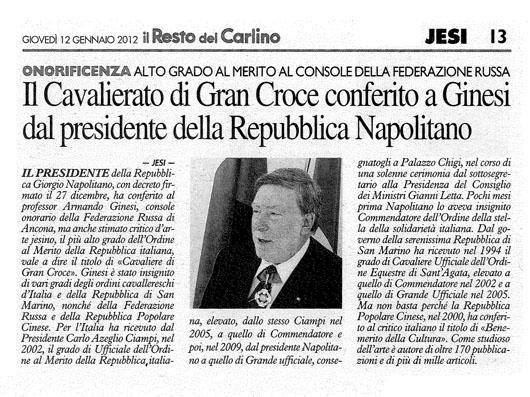 La First Lady Russa e Gianni Letta si congratulano per primi con il neo Cavaliere di Gran Croce Armando Ginesi